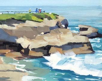 La Jolla Santa Barbara Art Print - Gouache painting by Sharon Schock 10x15, 11x14, 12x16
