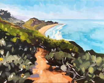 California Oil Painting -  9x12 - Carpinteria Landscape painting Rincon Beach by Sharon Schock