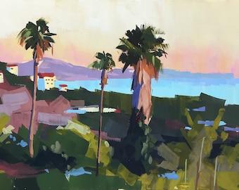 Riviera Santa Barbara Art Print - gouache painting by Sharon Schock 10x15, 11x14, 12x16