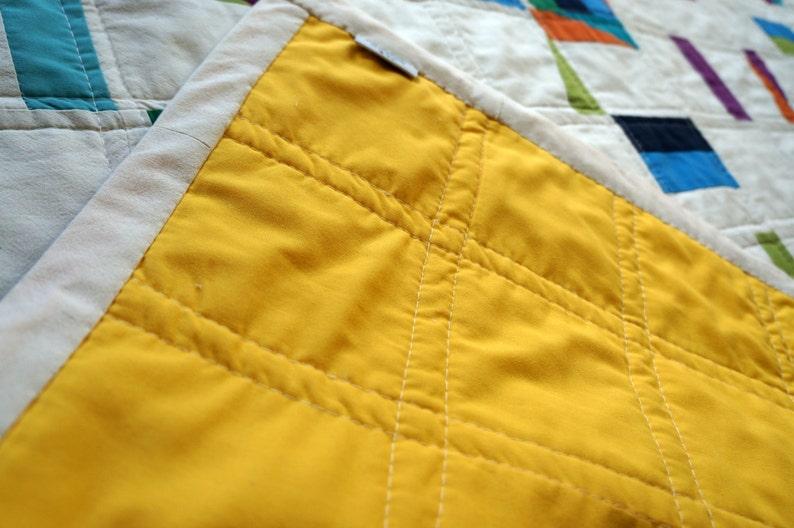 Modern baby gender neutral geometric quilt Irish baby Lap Quilt Multicoloured Bedding Sunflower Yellow