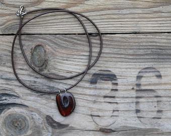 Rustic Amber Pendant Necklace Baltic Charm Jewelry Unisex Yellow Orange Honey Brown Leather Wine Charm gift idea