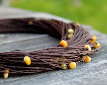 Natural Linen Necklace with Baltic Amber Rustic Jewelry Multi Strand Necklace Eco earth colors Brown Yellow Summer Fashion gift for her