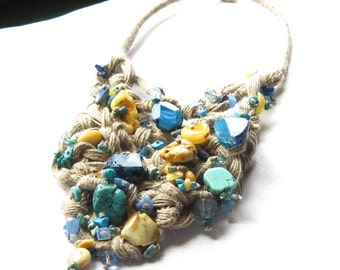 Natural Turquoise Amber Bib Necklace OOAK Macrame Teal  Agate Howlite Lapis Lazuli Linen Tapestry