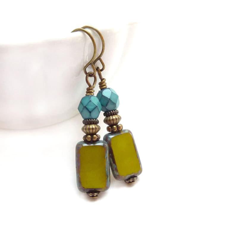 Green Glass Earrings  Turquoise Aqua Avocado  Picasso Czech image 0