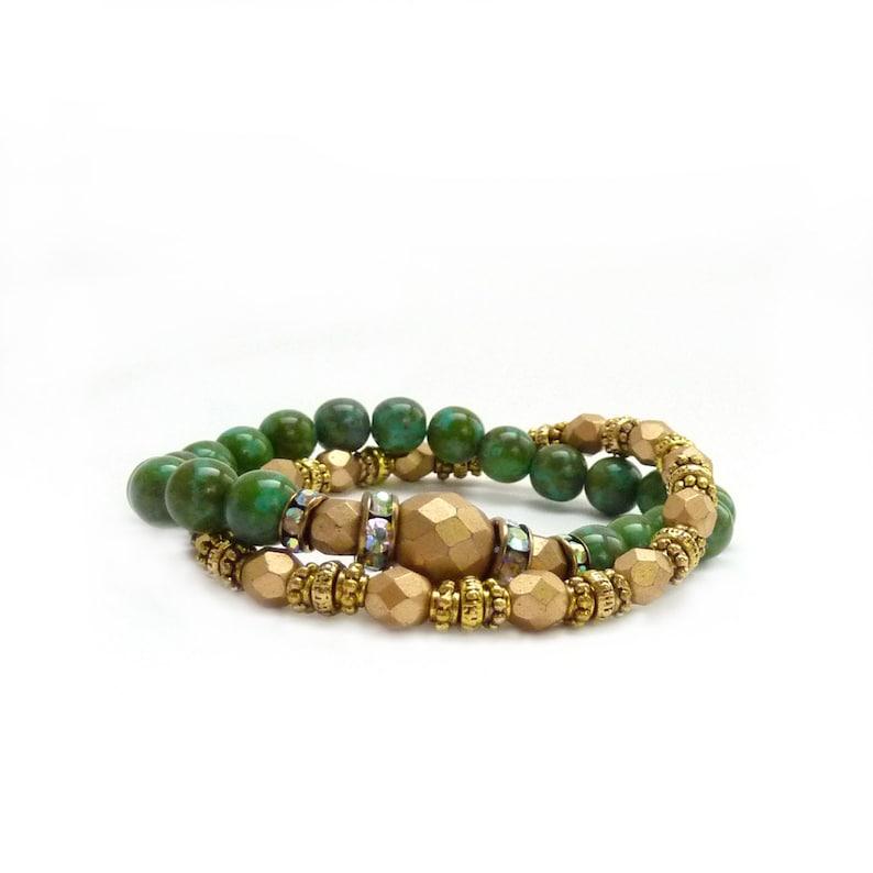 Turquoise Gold Bohemian Layering Bracelets  Czech Glass Matte image 0