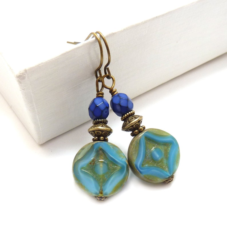 Blue Boho Dangle Earrings  Cornflower Blue & Cobalt  Gold image 0