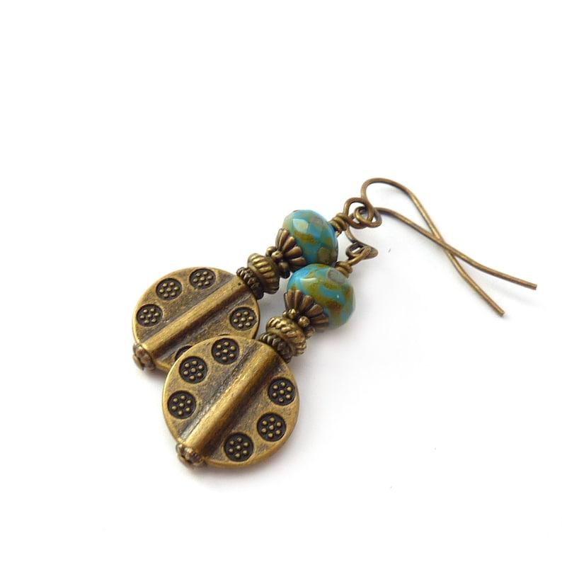 Bronze Boho Dangle Earrings  Periwinkle Blue Picasso Glass image 1