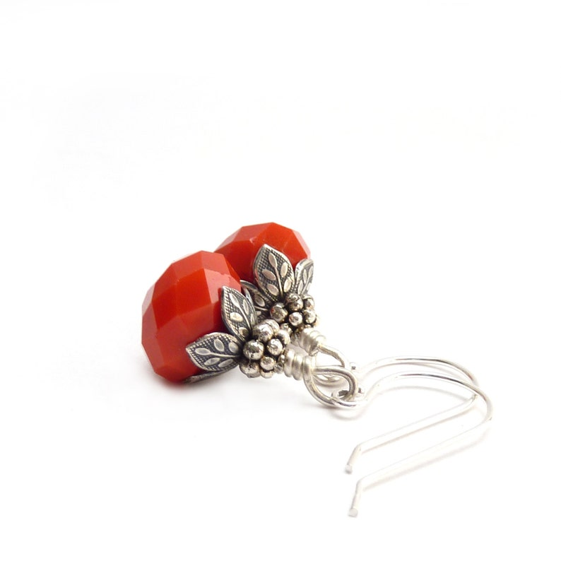 Orange Red Earrings  Antiqued Silver Vintage Inspired  Short image 0