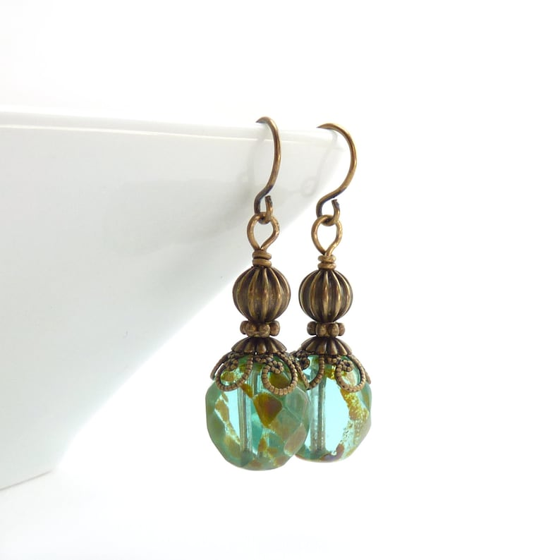 Aqua Drop Earrings  Picasso Glass Beads  Aquamarine Light image 0