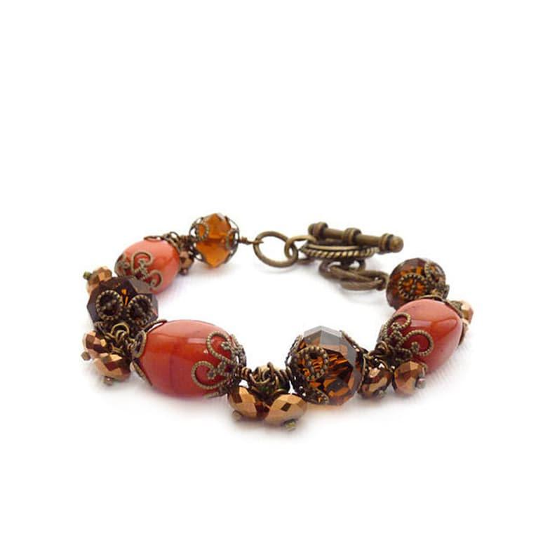 Orange & Brown Gemstone Bracelet  Wirewrapped Bracelet  image 1