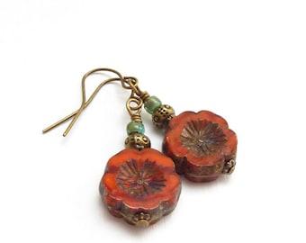 Orange Red Hawaiian Flower Earrings - Chunky Picasso Czech Glass Bead Dangles - Boho Jewelry