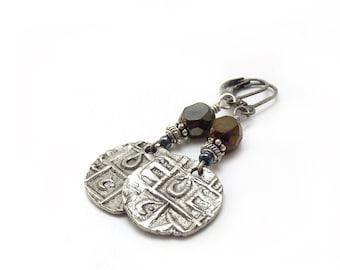 Long Silver Dangle Earrings - Bhutan Replica Ancient Coins - Jet Black Fire Polished Beads - Long Boho Hippie Earrings