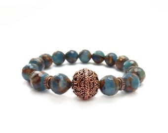 Blue Gemstone Bracelet - Copper Focal Bead -  Quartz & Gold Pyrite - Bohemian Stretch Layering Bracelet - Boho Stacking Bracelet