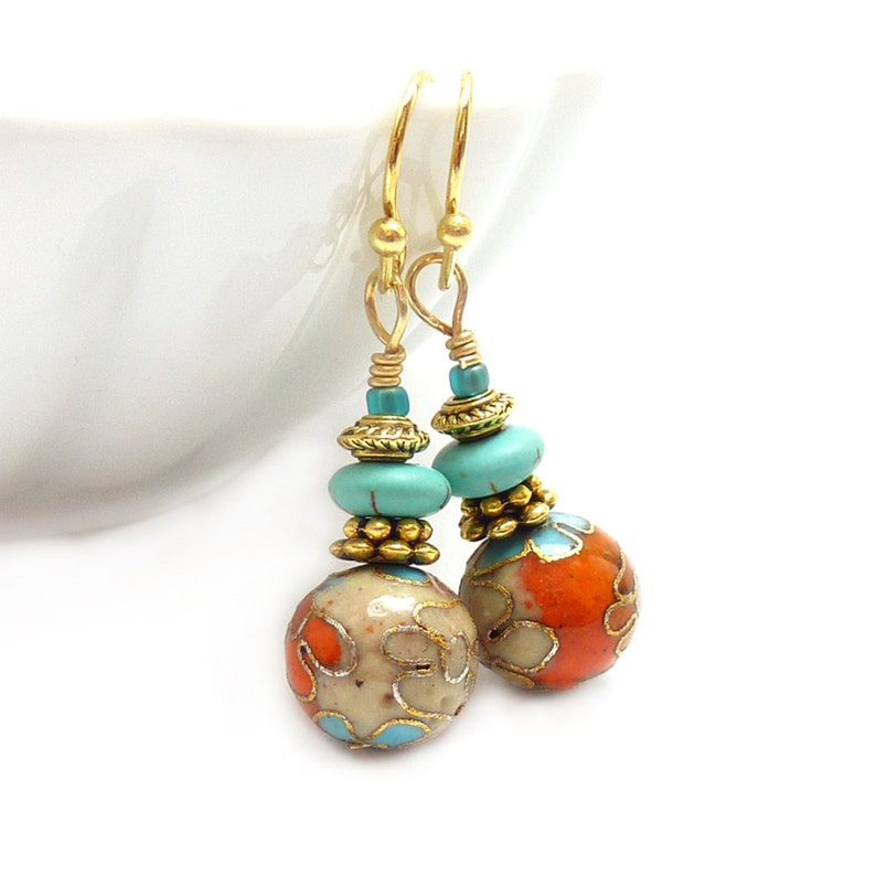 Cloisonne Earrings  Orange & Aqua  Turquoise Howlite  image 1