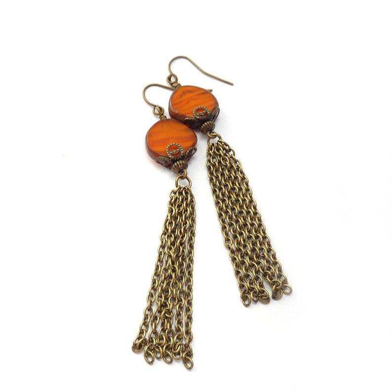 Orange Boho Tassel Earrings  Picasso Czech Glass Disc Beads  image 0