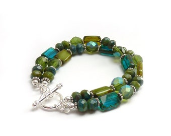 Blue & Green Boho Multistrand Bracelet - Picasso Glass Rectangle  Beads - Silver Toggle Clasp -  Layering Stacking Bracelet