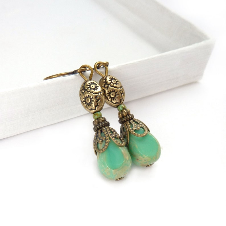 Turquoise Earrings Downton Abbey Style Picasso Glass Earrings image 0