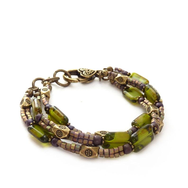 Olive Green Bohemian Multistrand Bracelet  Czech Glass image 0