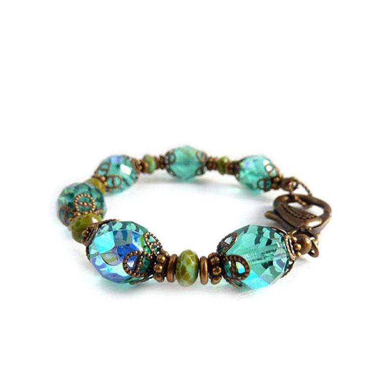 Turquoise Beaded Bracelet  Czech Fire Polished Beads  Retro image 0