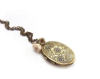 Victorian Bronze Locket - Ivory White Flowers - Romantic Keepsake Photo Locket - Victorian Style Jewelry