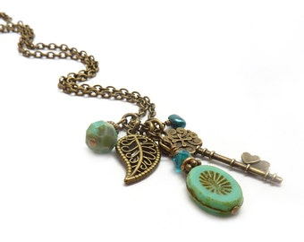 Skeleton Key Necklace - Turquoise Picasso Glass - Bronze Leaf -  Victorian Style Delicate Necklace