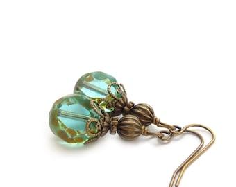 Aqua Drop Earrings - Picasso Glass Beads - Translucent Aquamarine - Boho Style Pale Blue Vintage-Inspired Jewelry