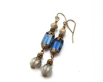 Sapphire Blue Dangle Earrings - Victorian Style - Metallic Glass Beads - Antiqued Bronze - Long Earrings - Sapphire Jewelry