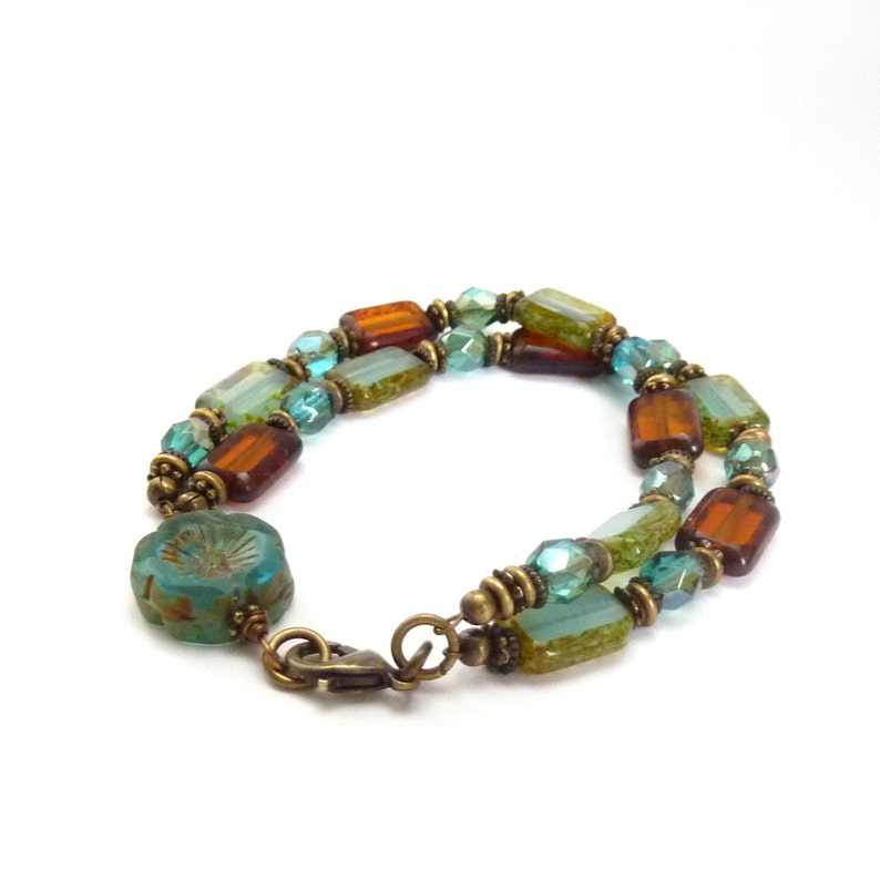 Blue & Brown Picasso Glass Bracelet  Rectangle Beads  Carved image 0