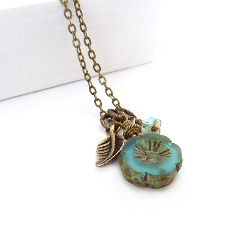 Aqua Blue Hawaiian Flower Charm Necklace  Picasso Glass image 1