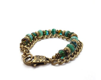 Aqua Bohemian Bracelet - Turquoise Czech Glass Bracelet - Bronze Curb Chain - Turquoise - Layering Bracelet - Gift for Her