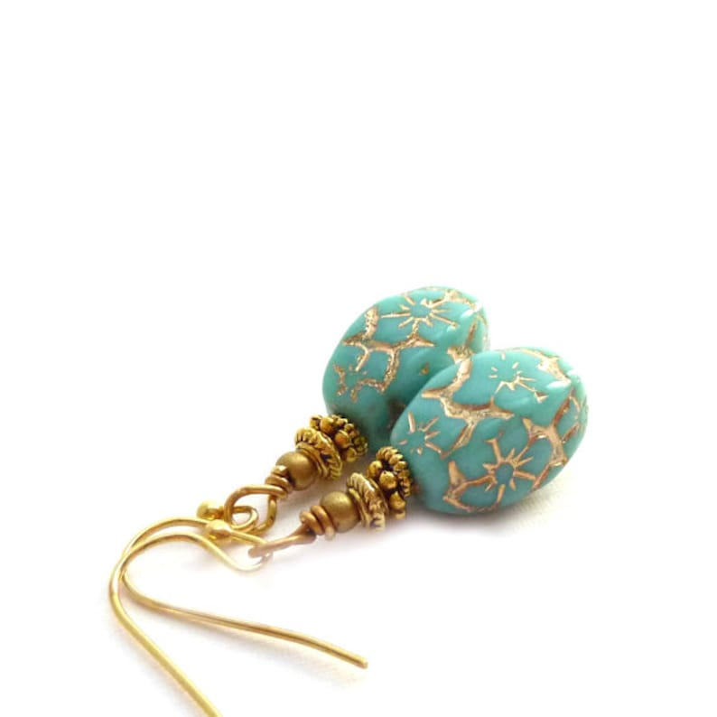 Turquoise and Gold Earrings  Czech Glass Beads  Short Drop image 1
