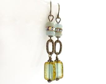 Pale Blue Aquamarine Stone Earrings - Picasso Czech Glass Rectangles - Bronze Links - Vintage Rhinestones - Boho Dangle Earrings