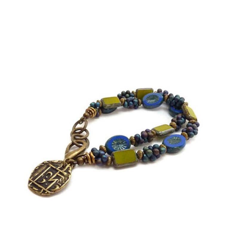 Boho Multistrand Charm Bracelet  Cobalt Blue & Green  image 1