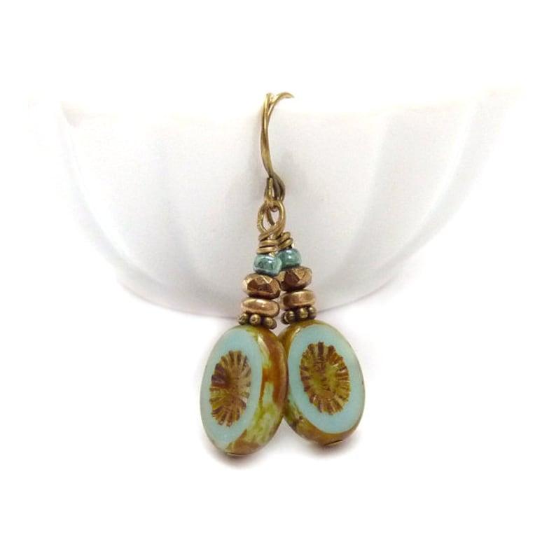 Aqua Dangle Earrings  Picasso Czech Glass Ovals  Pale Blue image 0