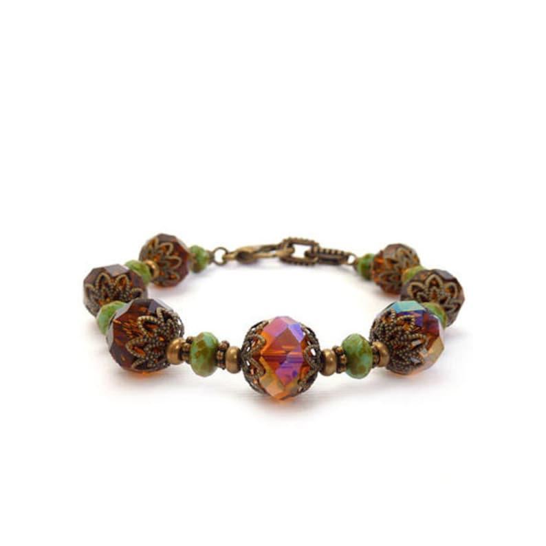 Amber Brown Bracelet  Faceted Crystal  Topaz  Turquoise image 0