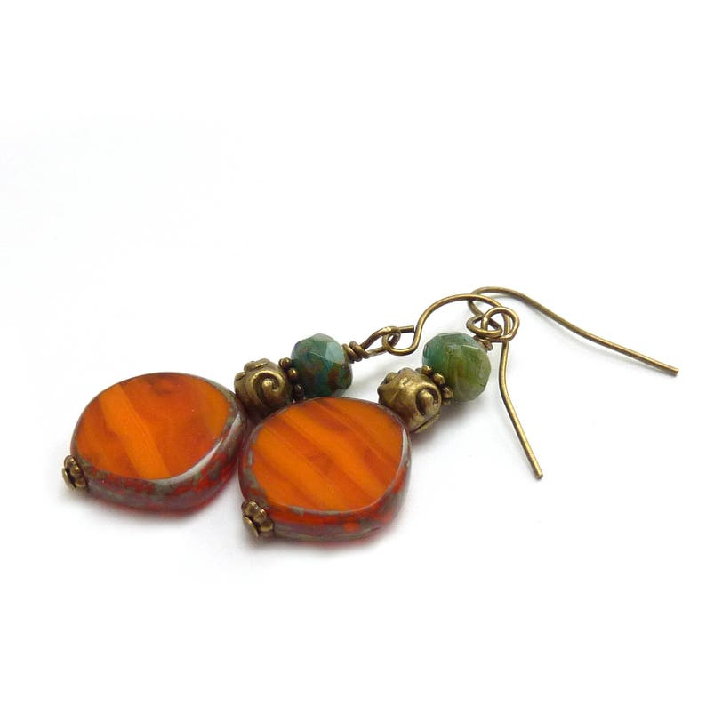 Orange Boho Dangle Earrings  Picasso Czech Glass  Blue/Green image 1