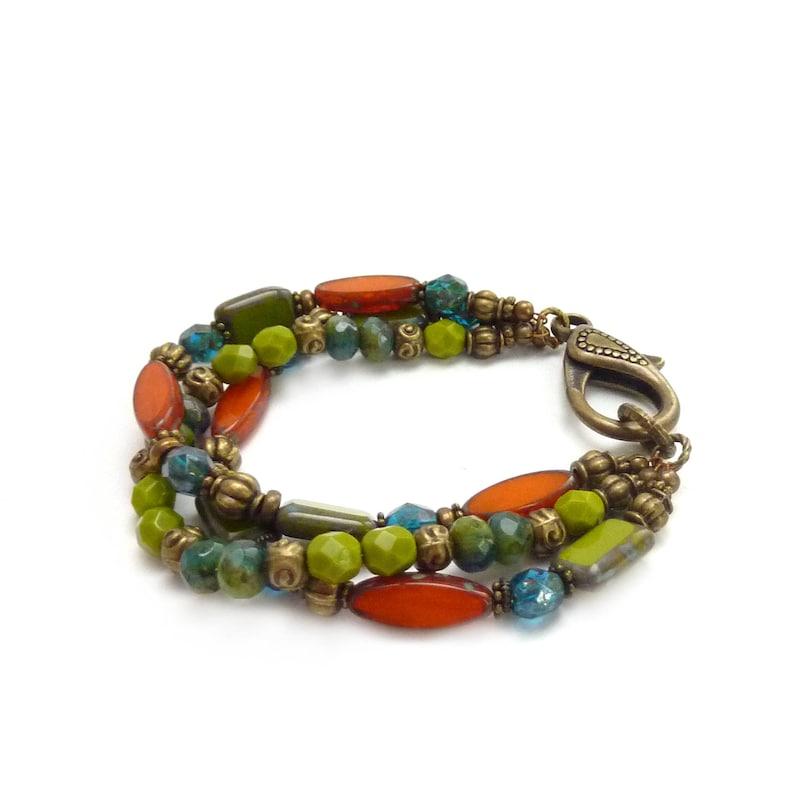 Multi-Color Bracelet  Orange Lime Green & Teal Picasso Czech image 0