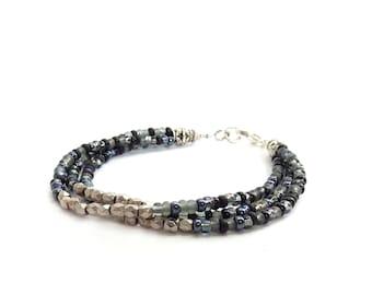 Silver & Black Multistrand Friendship Bracelet - Metallic Seed Beads - Delicate Bohemian Jewelry - Minimalist Bracelet
