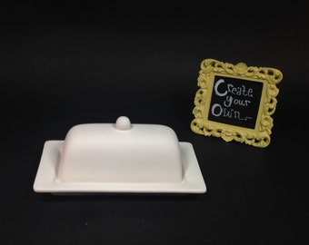 ceramic butter dish-custom design your own-hand painted OOAK