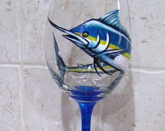 Marlin Wine Glass Hand Painted Sport Fish (Custom Order Only)