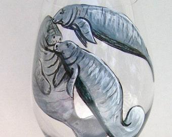 Manatee Wine Glass Tropical Ocean Hand Painted Wine Goblet (Custom Order)
