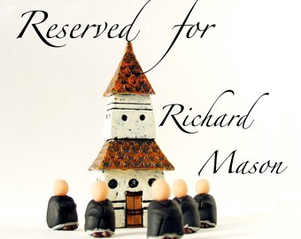 RESERVED for rchrdmason - A Little Zen Practice - Miniature Pagoda Zendo and Five Zen Monks by Bewilder and Pine