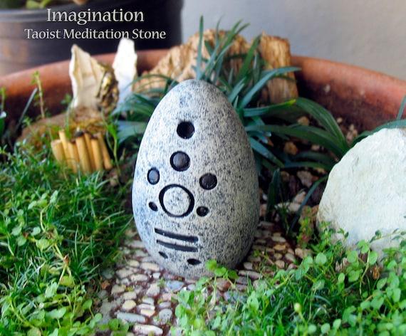 Imagination - Handcrafted Taoist Meditation Altar Stone - Handpainted Clay  - Planter and Terrarium Decor - Zen Garden -Mindful Practice