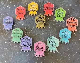 Tabletop Merit Badge Acrylic Pins D&D Pins