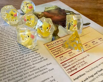 Lucky Ducks in a Row Dice Set- Polyhedral Dice, 8d6 Set, 10d10 Set- The Original Duckie Dice!