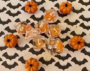 Pumpkin Polyhedrals- 7 pc Polyhedral Dice Set With Tiny Pumpkins Inside