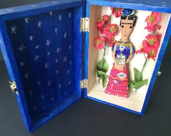 Nina's Frida Kahlo Doll - Nina's Frida Doll - Frida Kahlo Shrine Box - Folk Art Doll - Mexican Folk Art Inspired