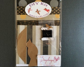 DIY Kit: 3-Dimensional Paper Bird Garland, BLACK & GOLD, Makes One App. 5' Strand of 10 Birds