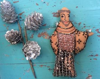 Saint Francis Art Doll - St. Francis Folk Art - Gift for Pet Lover - Embroidery - Saint Art - Inspired by Mexican Folk Art