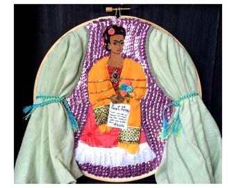 Frida Kahlo Embroidery Hoop Art - Frida Kahlo Art - Mexican Art Inspired - Mexico Folk Art Inspired - OOAK